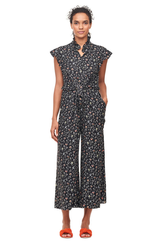 Vine Print Silk Jumpsuit - Black