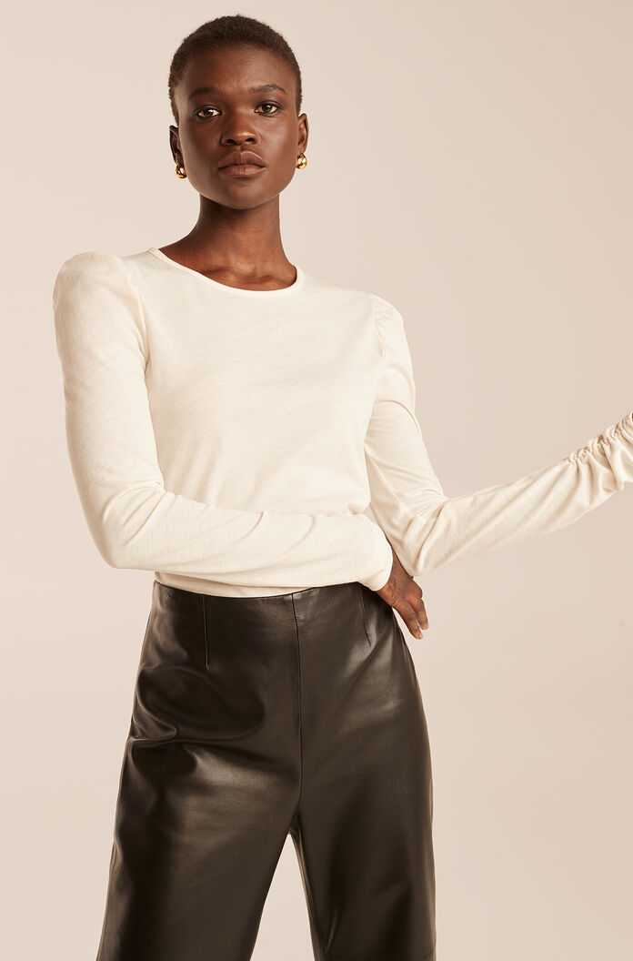 Ruched Long Sleeve Knit Top-Milk