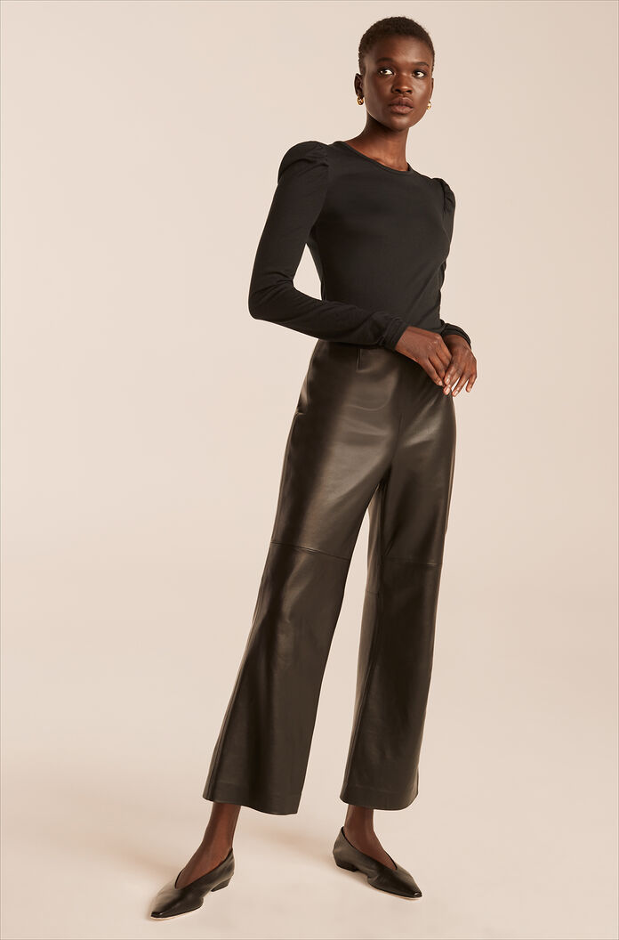 Leather Ankle Pant-Black