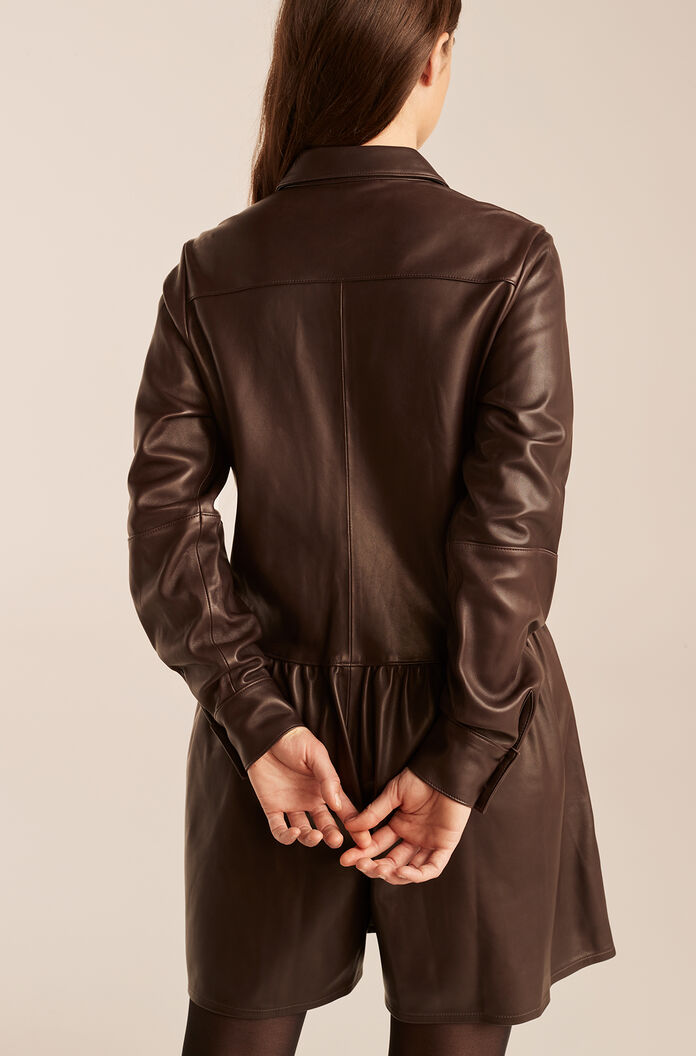 Leather Romper, Chocolate, large