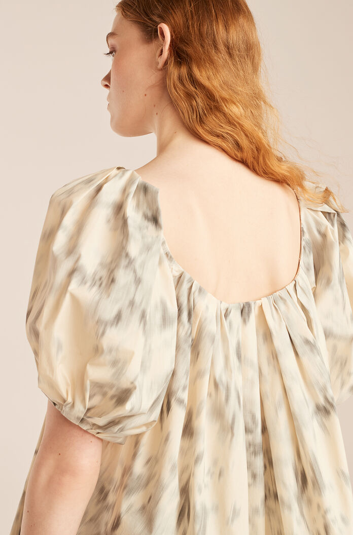 Whisper Rose Tulip Puff Sleeve Top, Silver Combo, large
