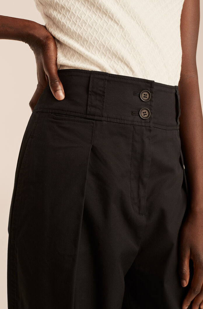 Casual Full Tapered Pant, Black, large