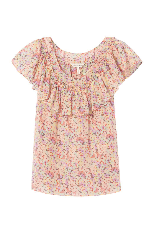 Margo Floral Silk Cotton Voile Ruffle Top