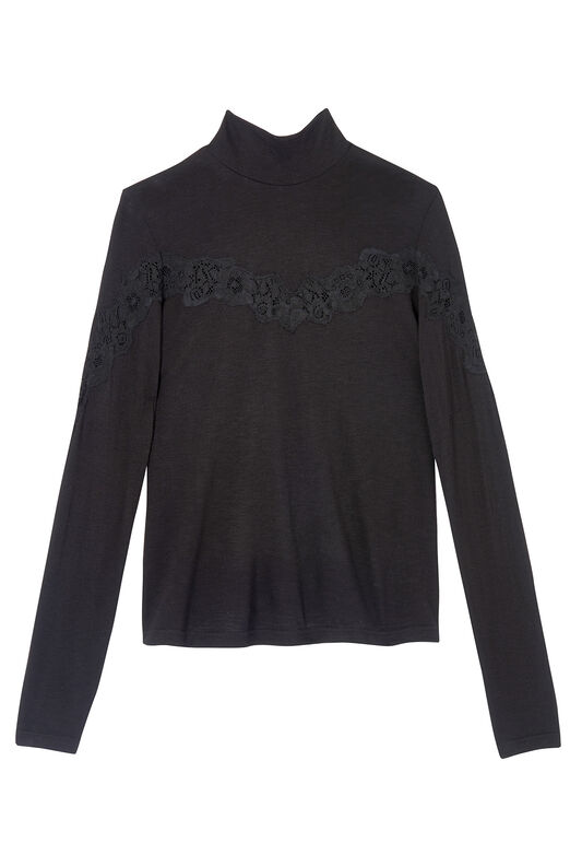 Jersey & Lace Turtleneck Top