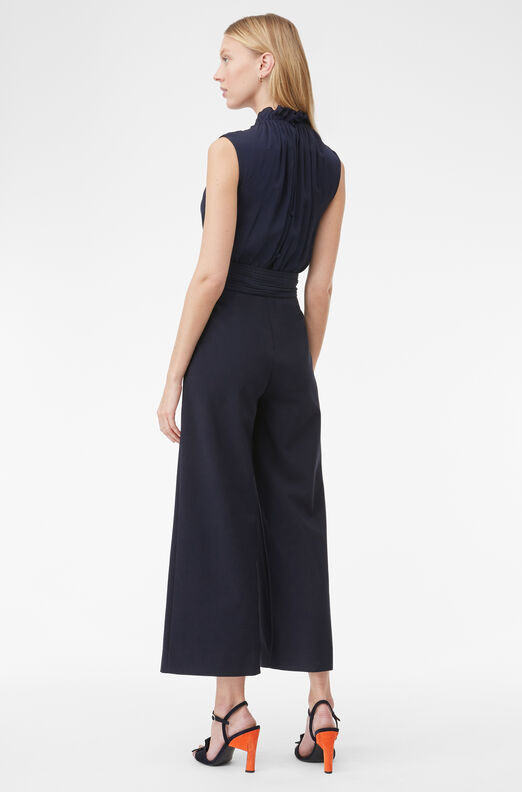 Tailored Clean Suiting Silk Jumpsuit, Navy, large