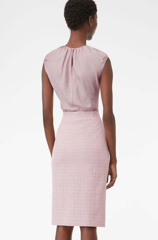 Tailored Rose Plaid Suiting Skirt, Rose, large