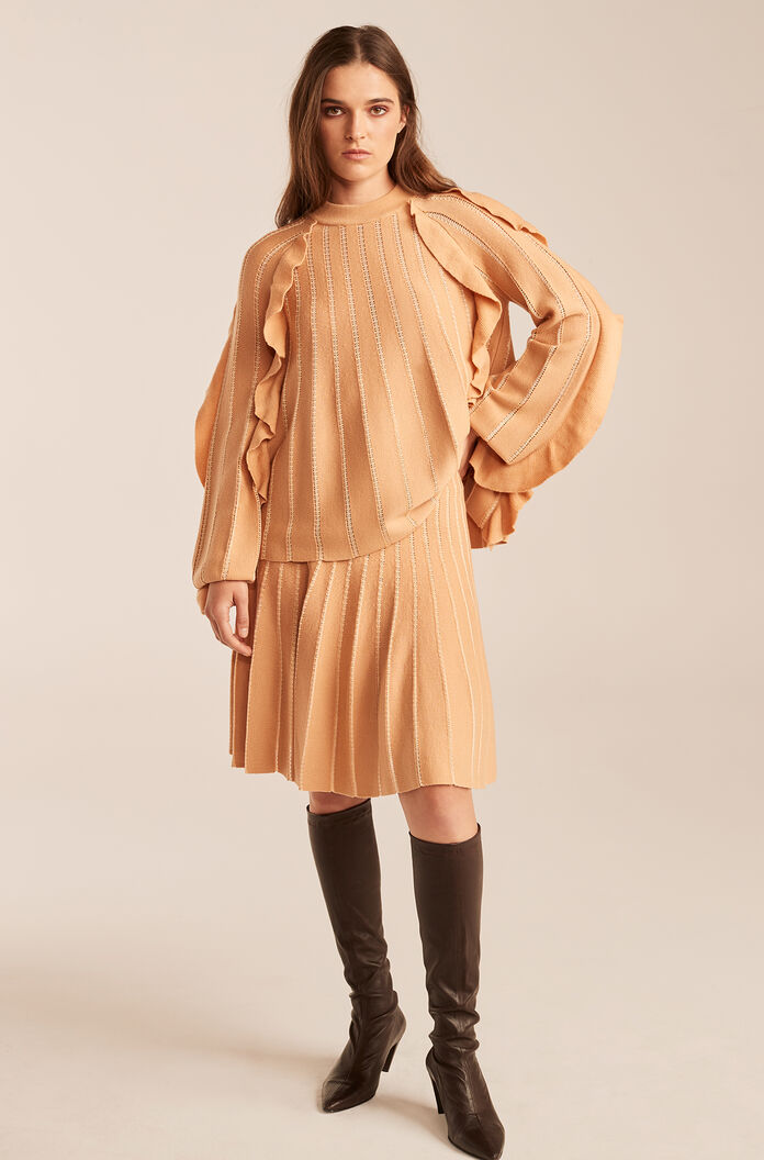 Pleated Stitched Skirt With Ruffles-Sunkiss