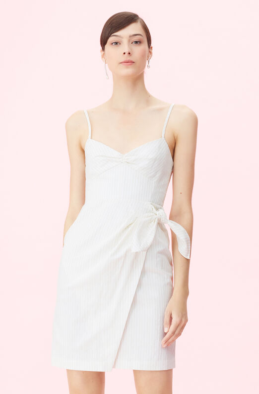 Pinstripe Linen Wrap Dress