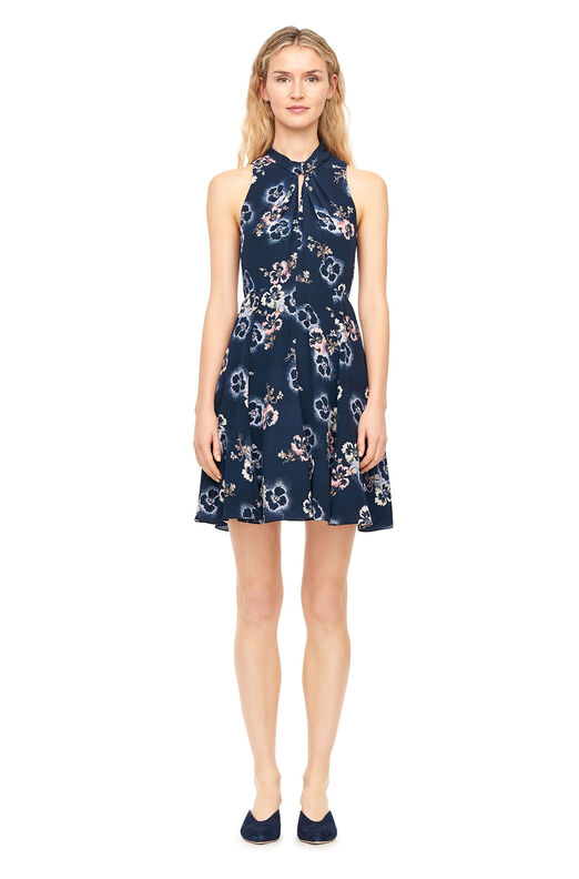 Faded Floral Silk Knot Neck Dress - Navy
