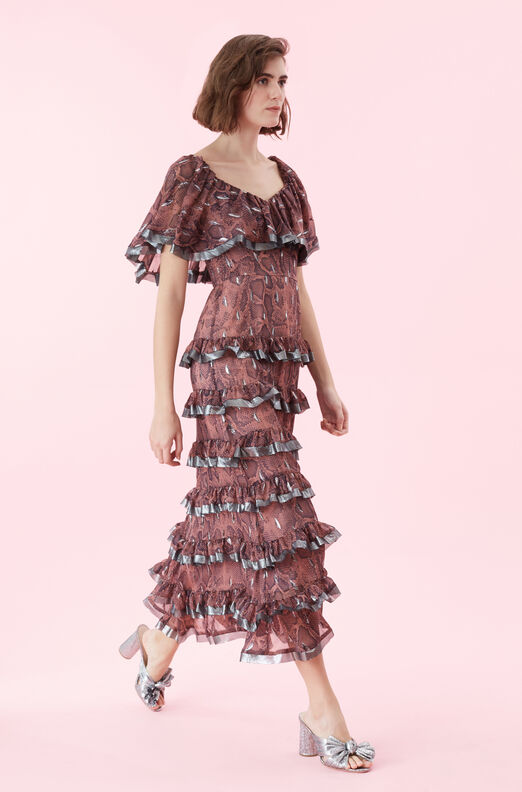 Snake Print Tiered Ruffle Dress