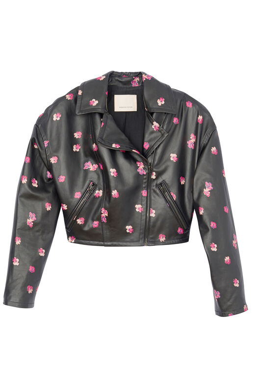 Floriana Fleur Cropped Leather Jacket