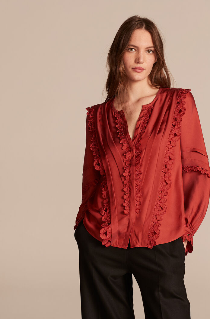 Embroidered Silk Top, Brick, large