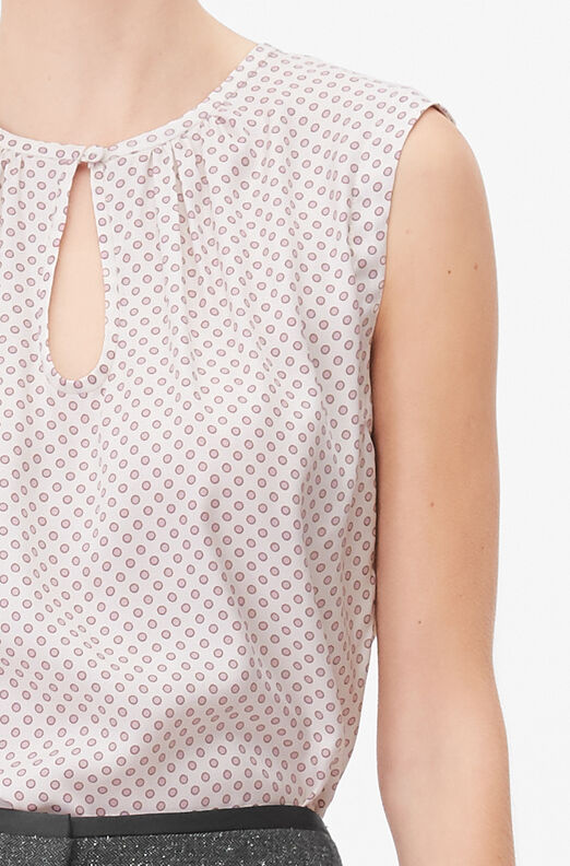 Tailored Deco Dot Silk Twill Top