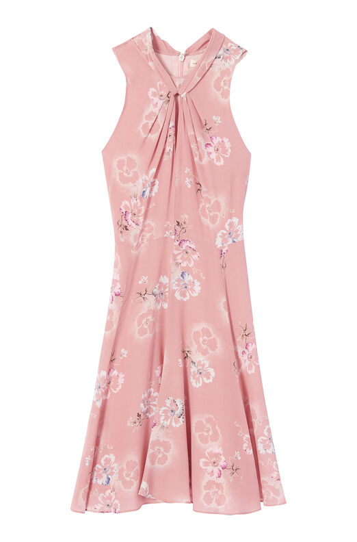 Faded Floral Silk Knot Neck Dress