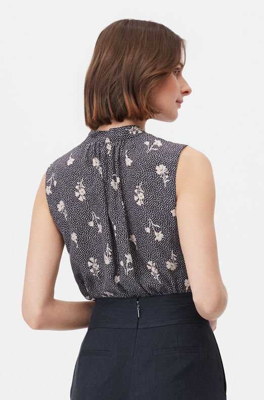 Tailored Widflower Dot Silk Jacquard Top