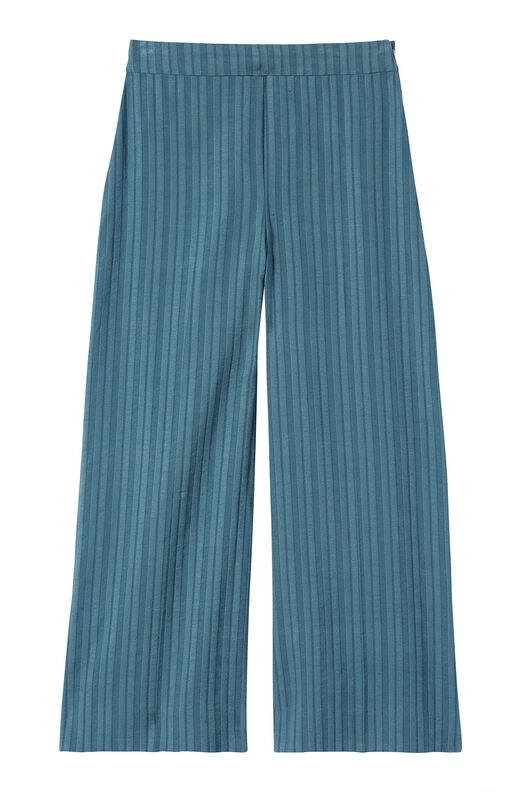 Textured Stripe Wide Leg Crop Pant