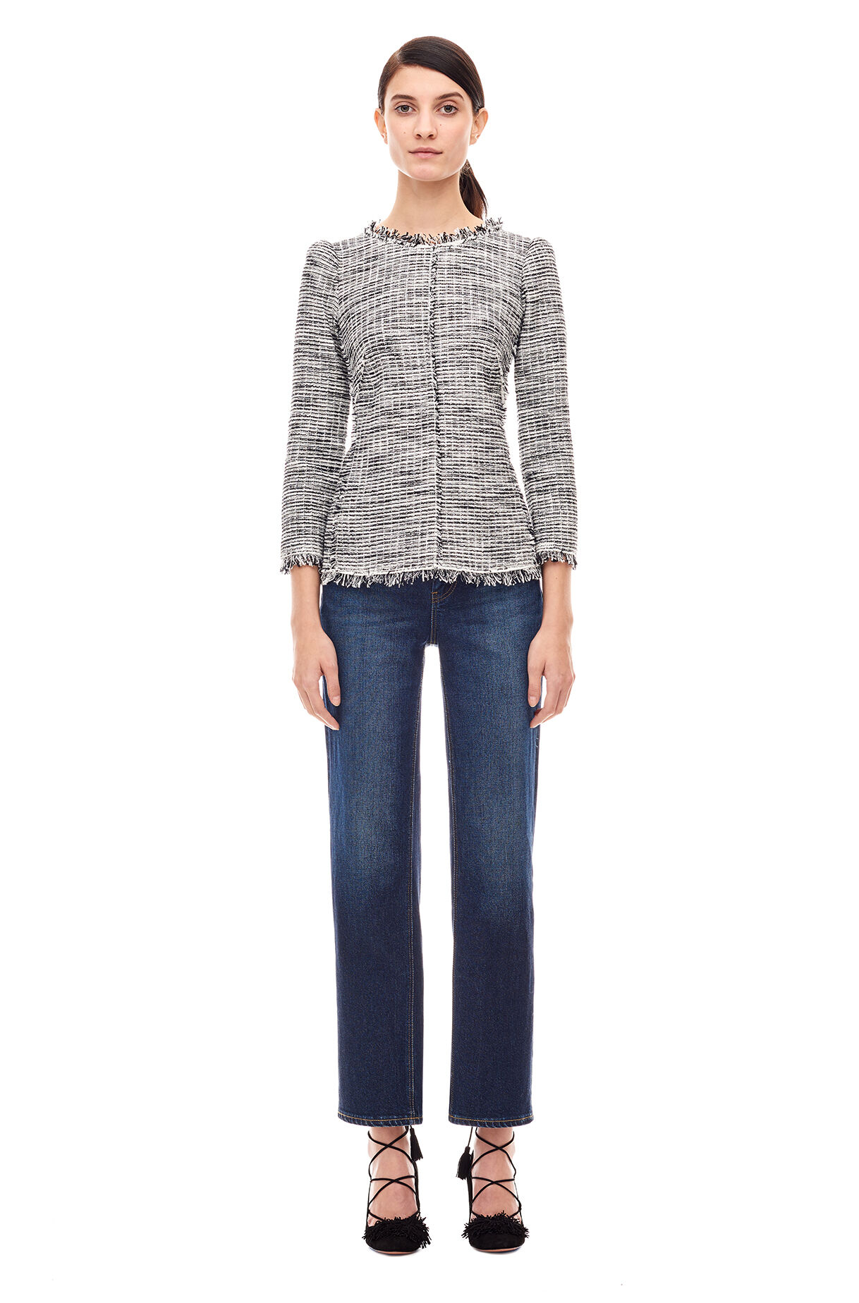 Bouclé Tweed Top - Black/Chalk