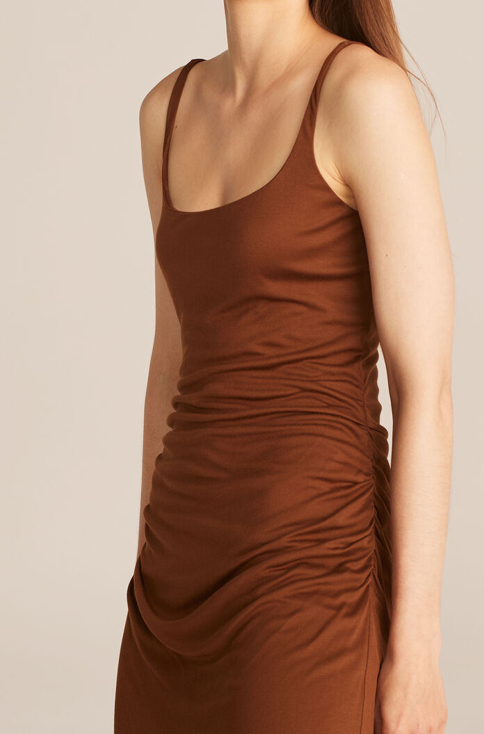 Ruched Seam Dress, Cacao, large