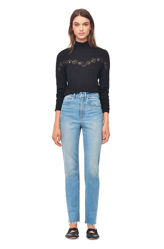 Jersey & Lace Turtleneck Top - Black