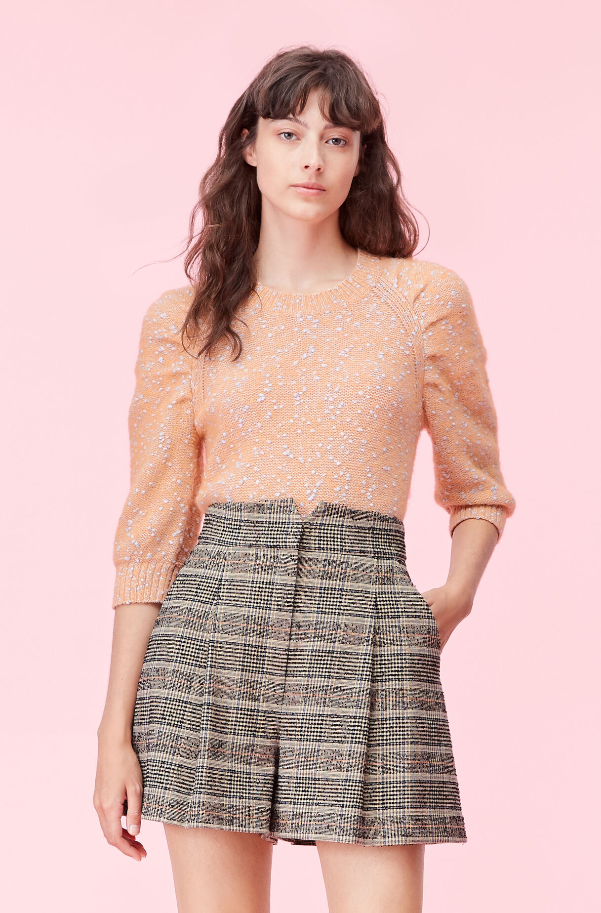 Optic Tweed Ruched Pullover, , large