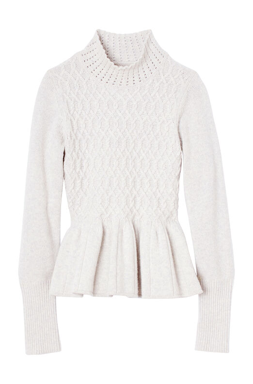 La Vie Braided Cable Peplum Pullover