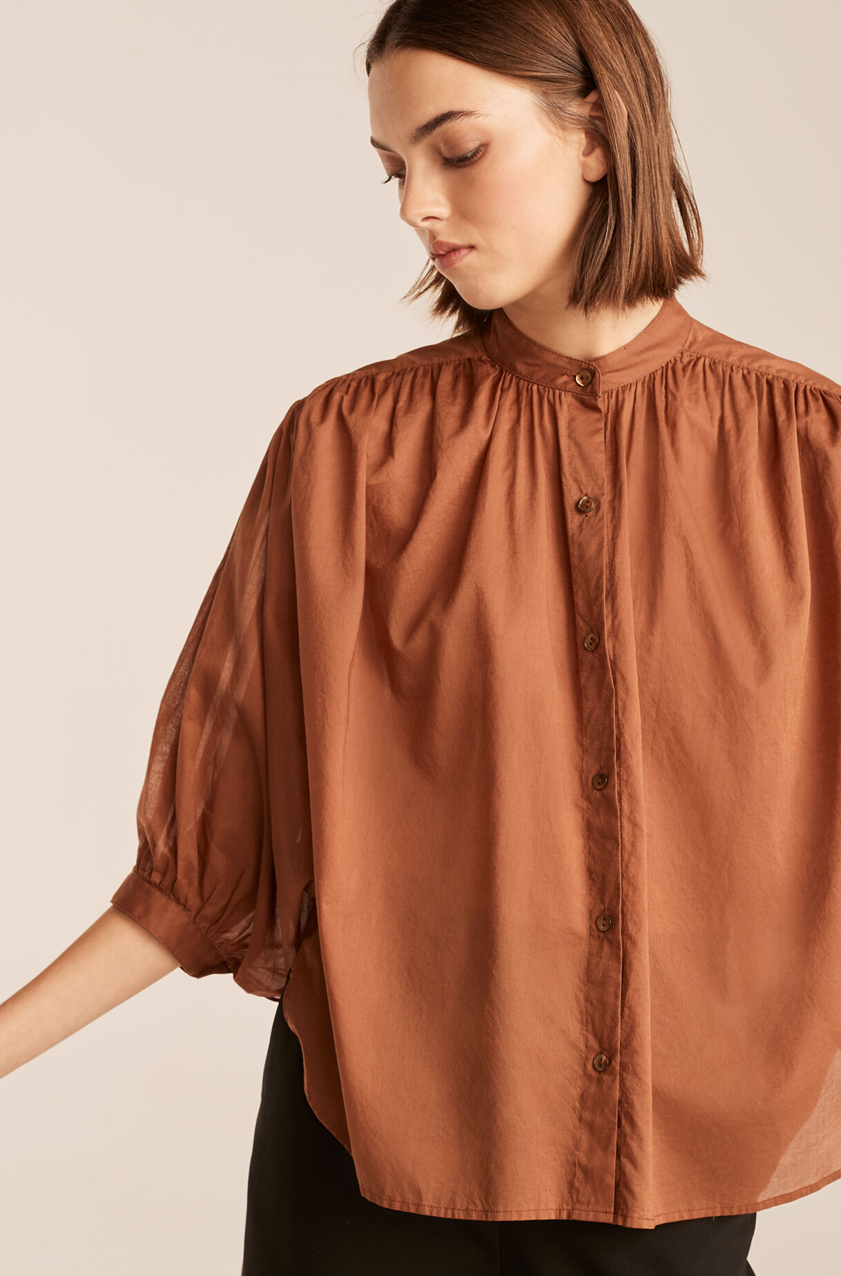 Voile Button Down, Pecan, large