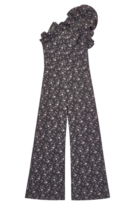 One-Shoulder Stretch Floral Jacquard Jumpsuit