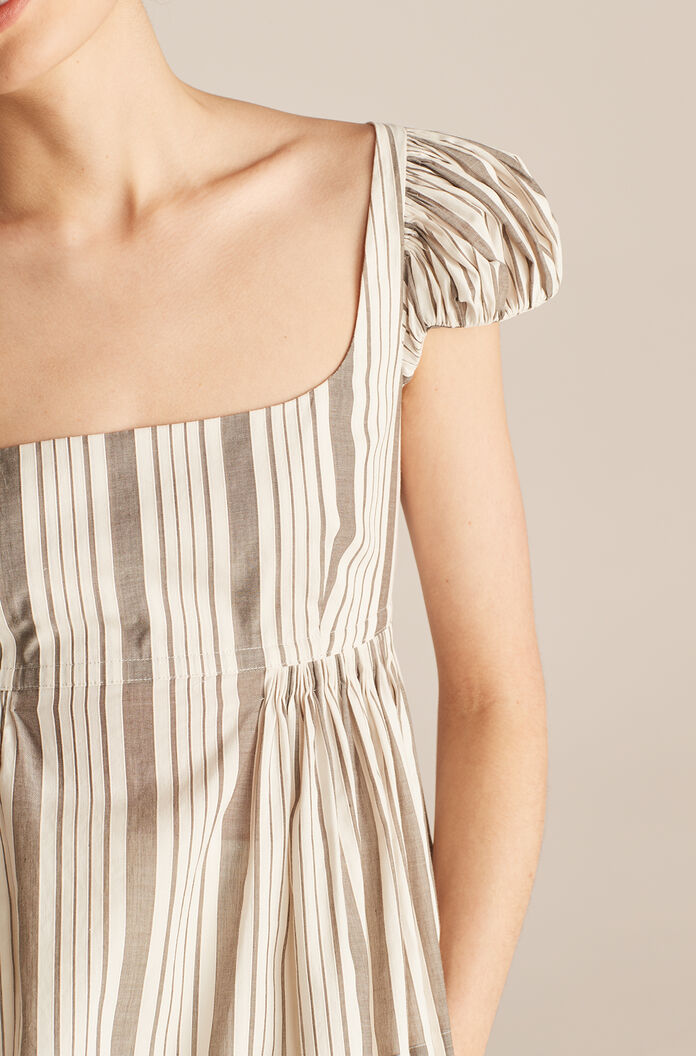 Corded Stripe Puff Sleeve Empire Blouse, Grey Muslin Combo, large
