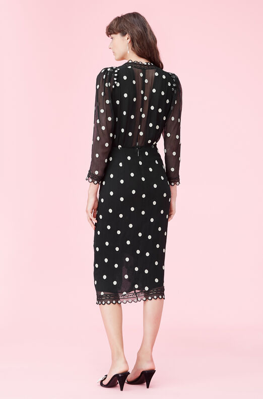 Dot Embroidered V-Neck Dress