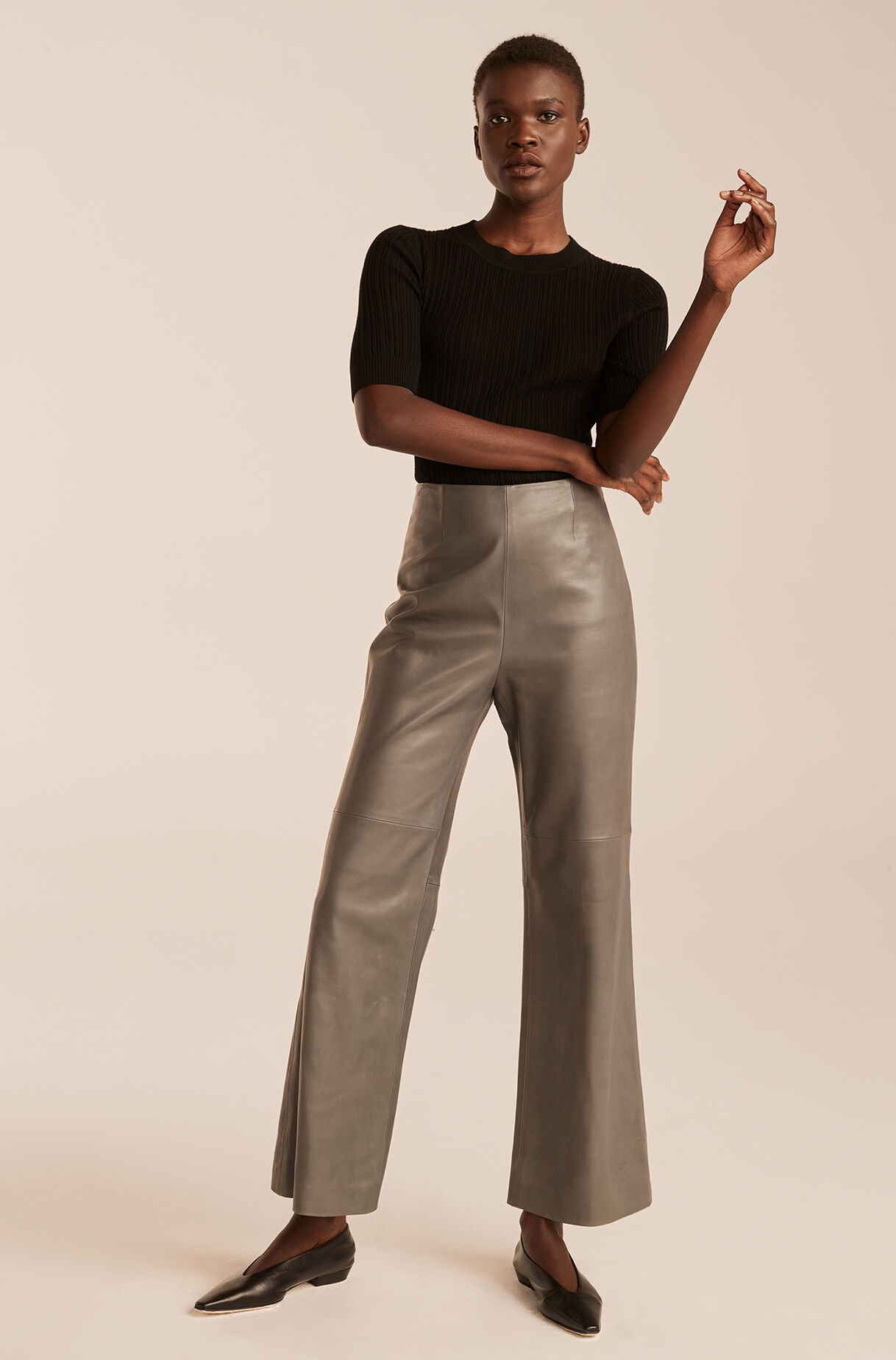 Leather Ankle Pant-Charcoal