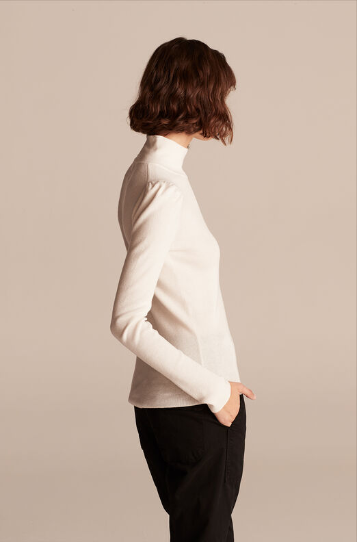 Cozy Cotton Turtleneck, Cream, large