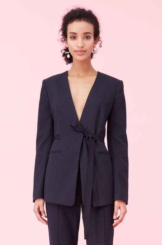 Zig Zag Jacquard Jacket, Navy, large