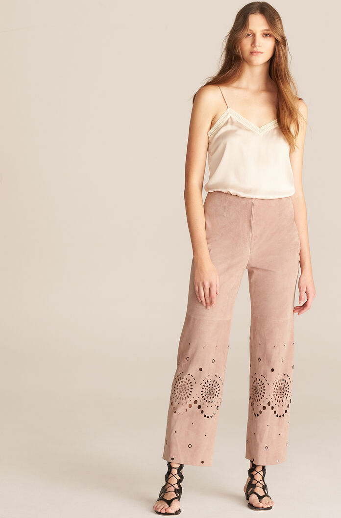 Laser Cut Suede Pant, Wisteria, large
