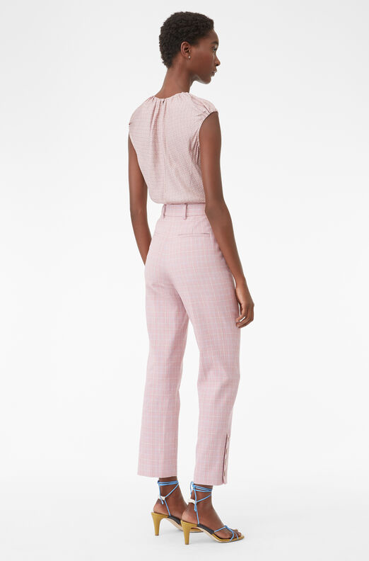 Tailored Rose Plaid Suiting Pant, Rose, large