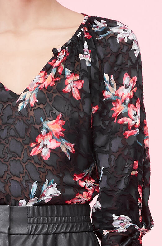 Noha Floral Satin Burnout Top