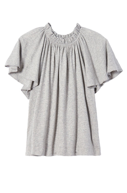 La Vie Washed Textured Jersey Ruched Tee