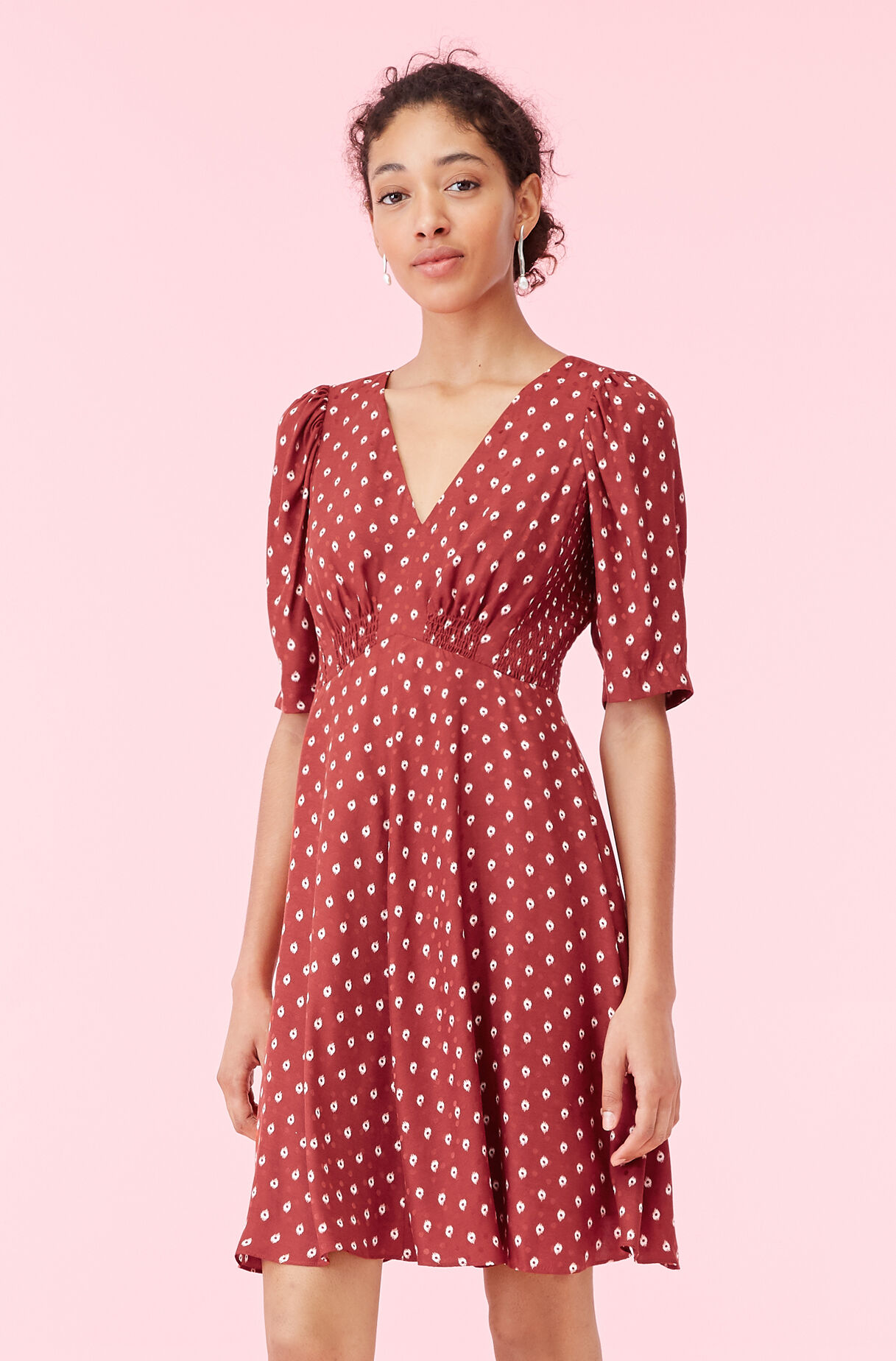 Sunrise Dot Jacquard V-Neck Dress, , large