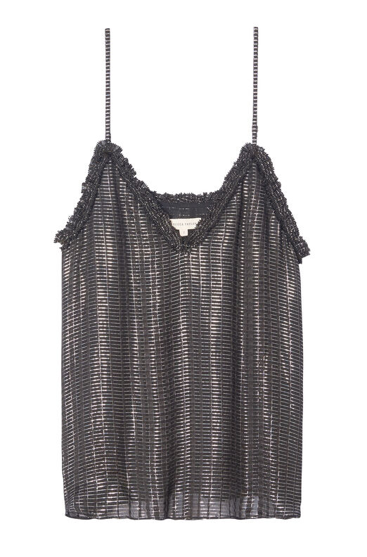 Metallic Plaid Chiffon Cami