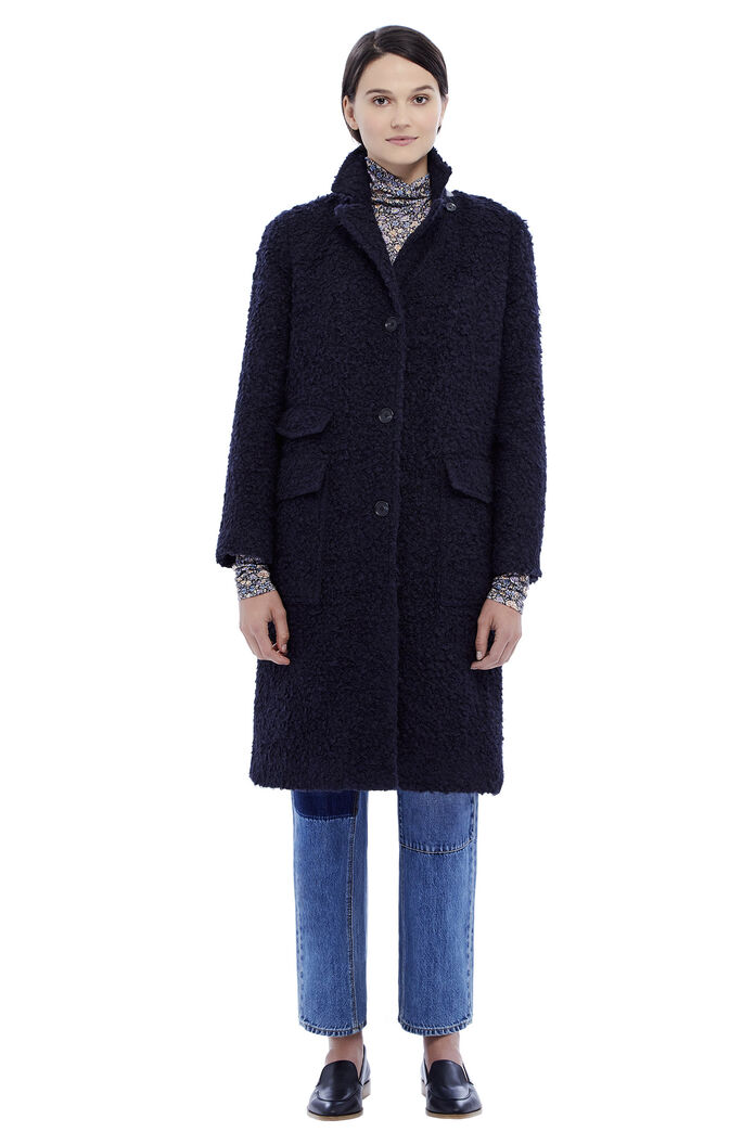Textured Boucle Coat - Navy