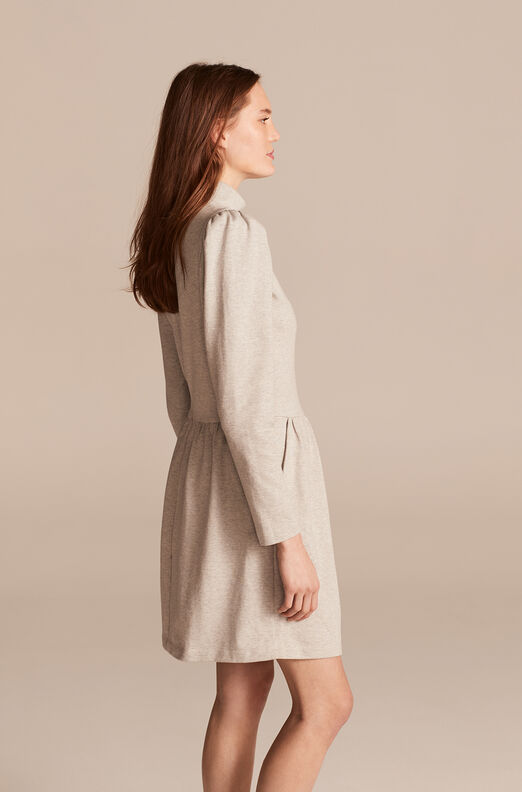Heather Jersey Turtleneck Dress, Heather Grey, large