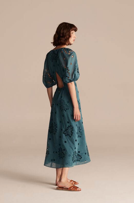 Honeysuckle Eyelet Dress, Deep Teal, large