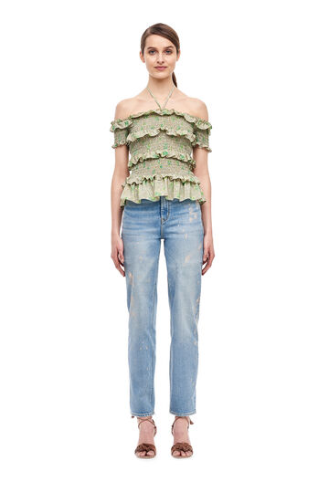 Off-The-Shoulder Fleur Top - Sage Combo