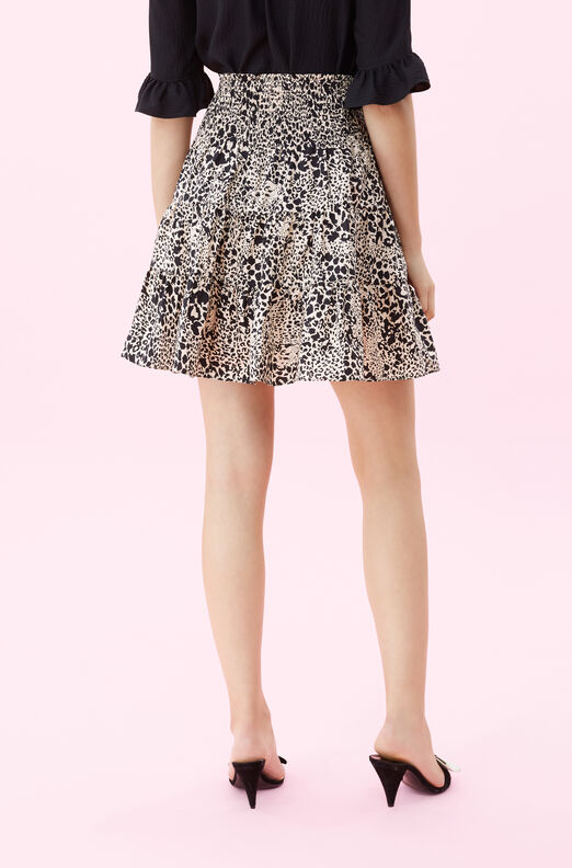 Hidden Leopard Poplin Smocked Skirt