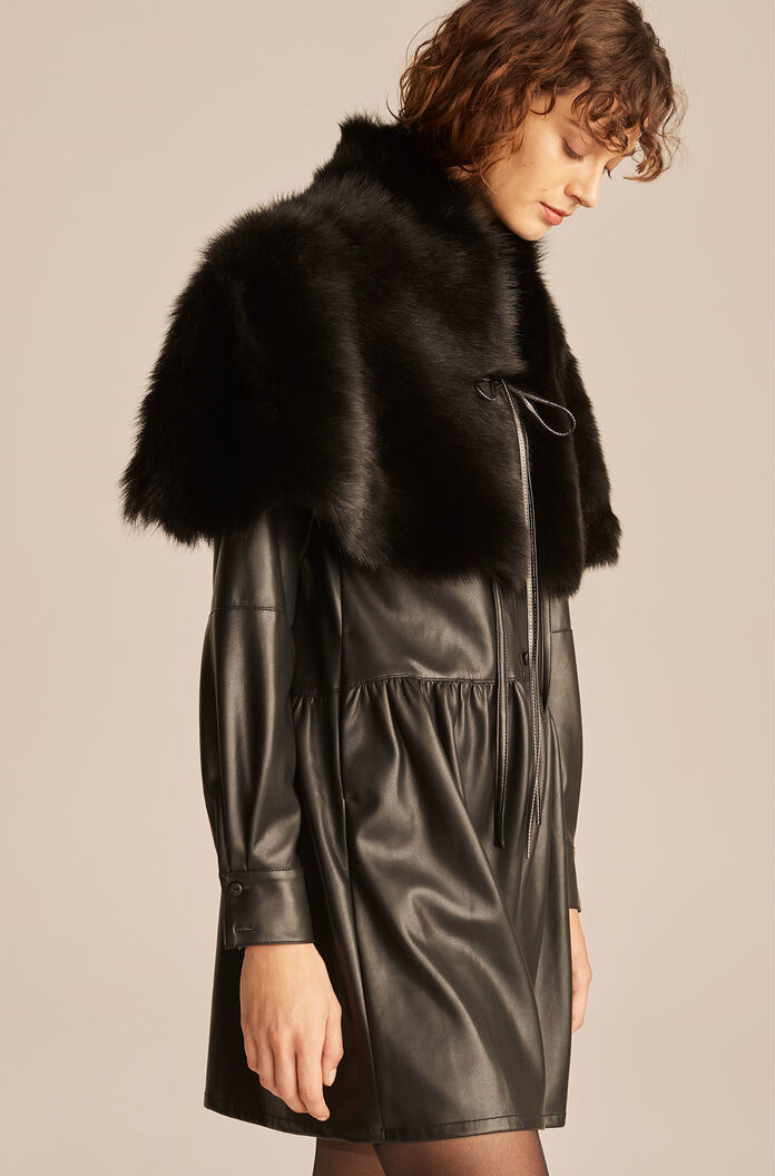 Caped Leather Trench, Black, large