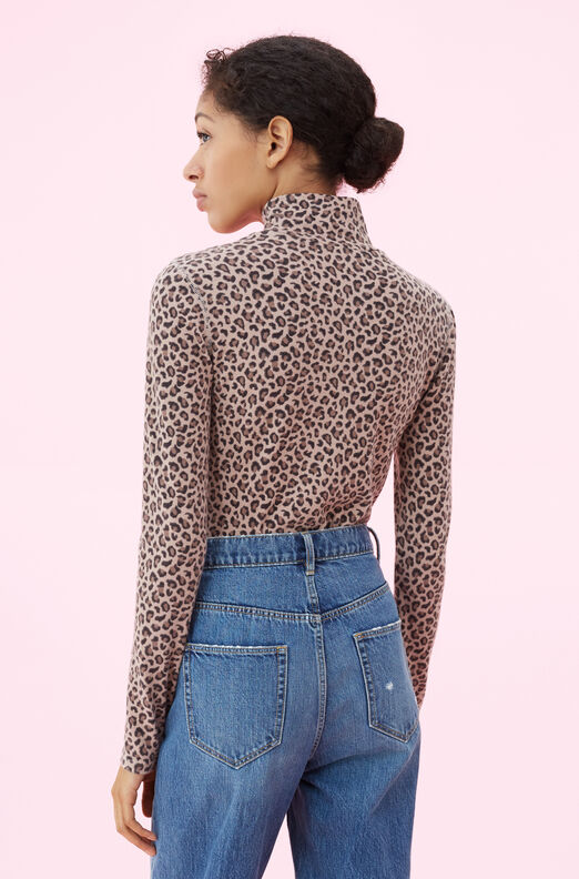 La Vie Ocelot Turtleneck Jersey Top