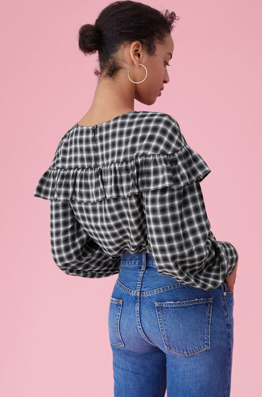 La Vie Plaid Ruffle Top