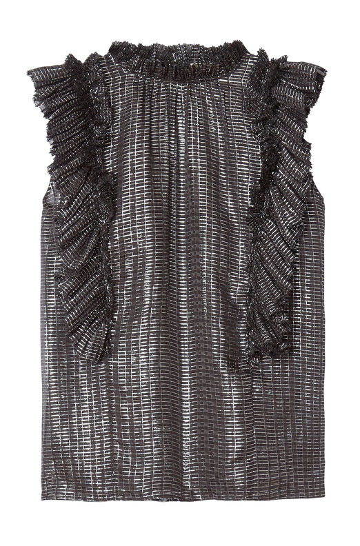 Metallic Plaid Chiffon Pleated Top