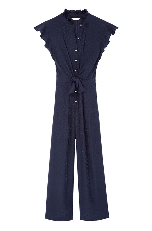 Heart Jacquard Silk Jumpsuit