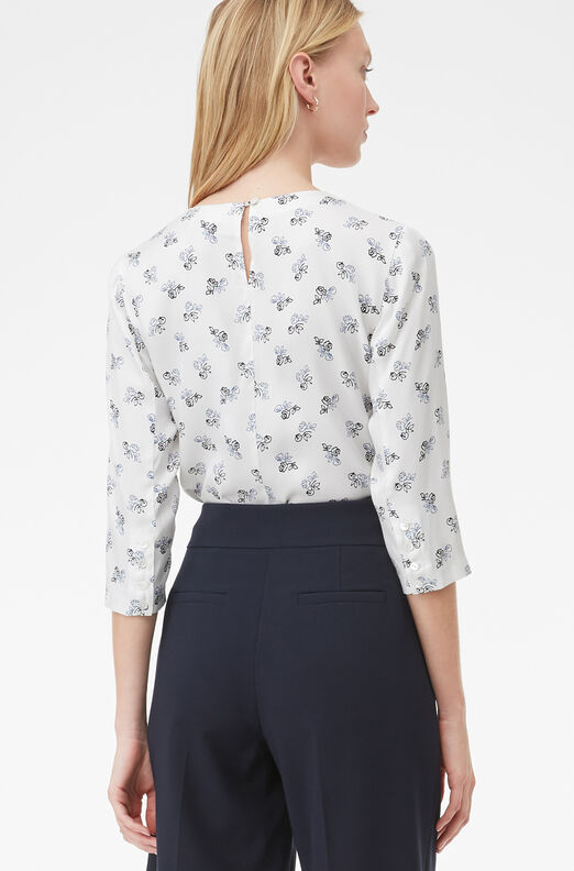 Tailored Carmen Fleur Silk Twill Top
