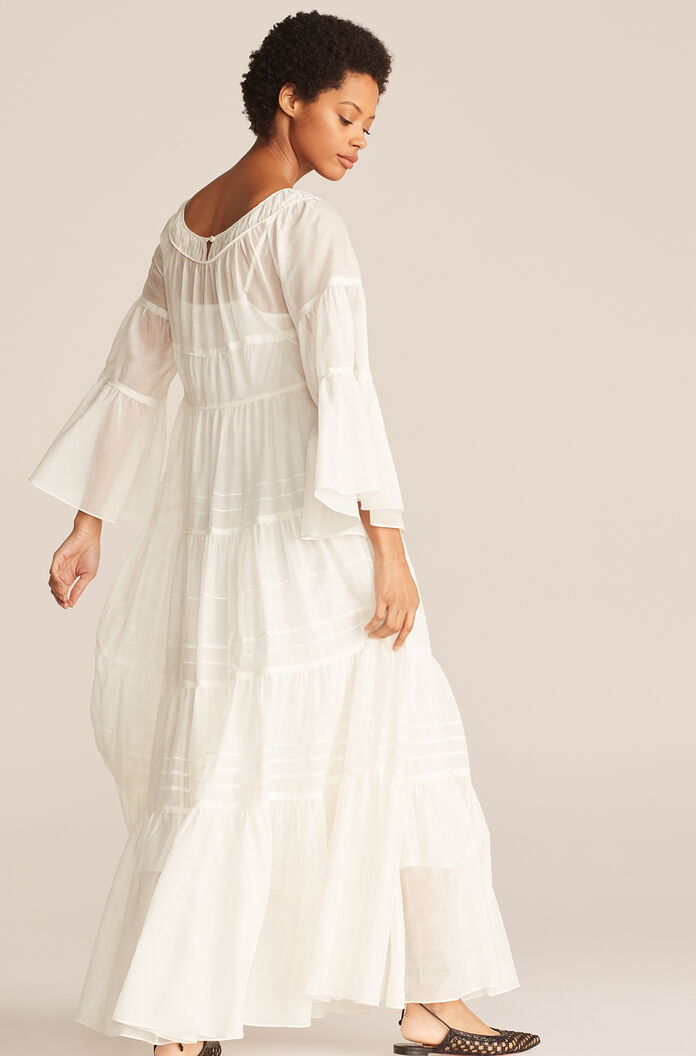 Full Length Ruched Tier Dress, Snow, large